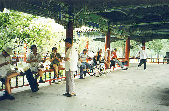 Erhu players, singer, and listeners. Note the guy in the back kicking a coosh ball. He was great, and he was also about 80 years old.