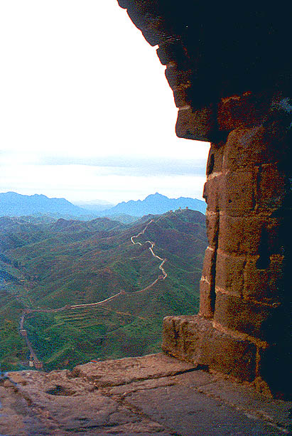 Looking west from a guard tower: Mongolia on the right, China on the left. Blue Mountains.